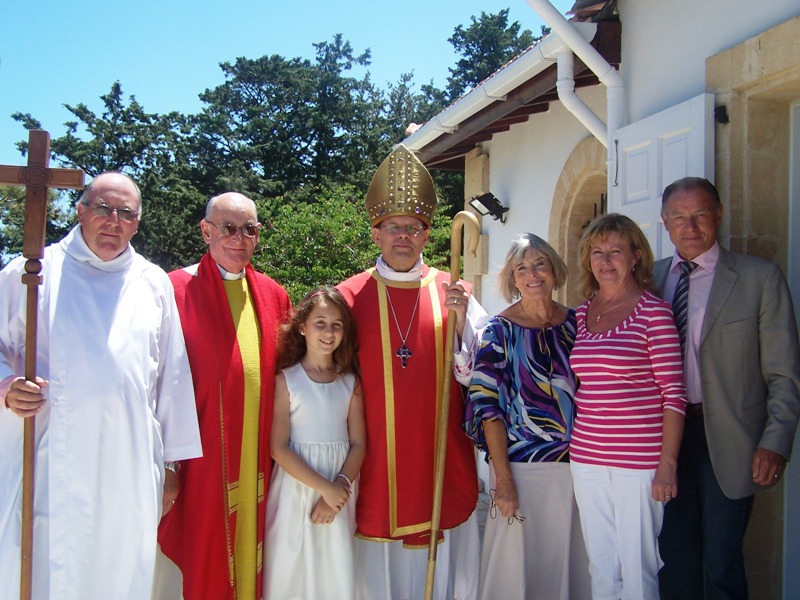 Desiree's Confirmation with Bishop Michael and her Godparents